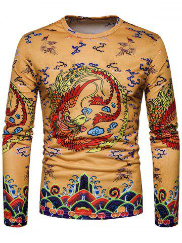 Buy Phoenix Chinese Style Print Long Sleeve T-shirt