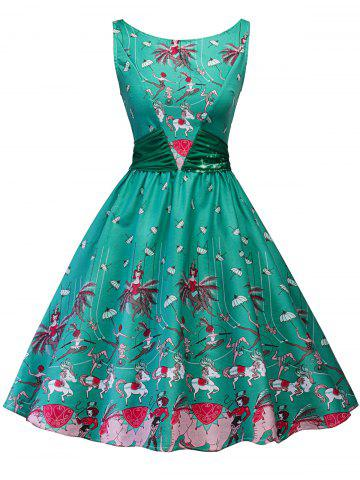 Trendy Vintage Printed Bowknot Pin Up Dress