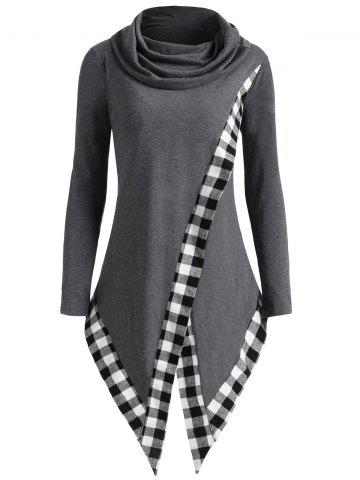 Hot Heap Collar Plaid Panel Asymmetric Overlap Top