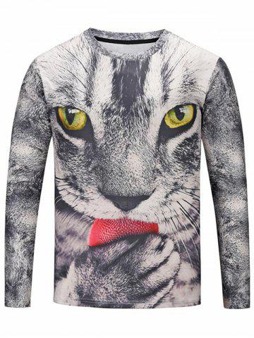 Fashion Crew Neck 3D Cat Tee