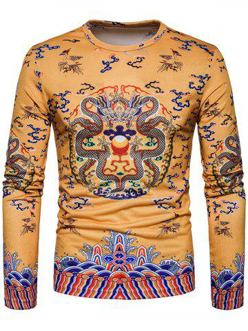 Shop Dragons Print Chinese Style Long Sleeve T-shirt