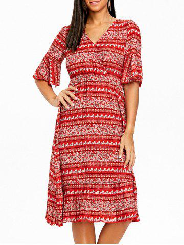 Cheap Bohemian Floral Print Bell Sleeve Midi Dress