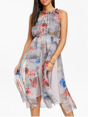 Cheap Bohemian Printed Chiffon Midi Dress