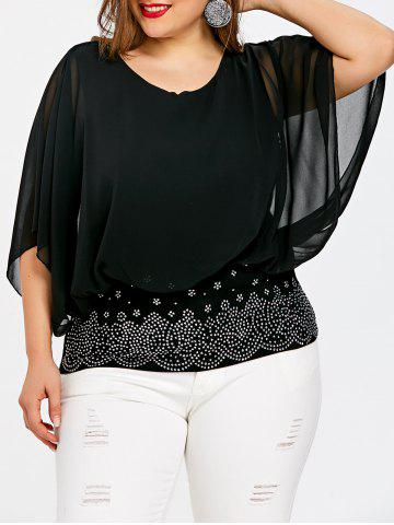 Discount Plus Size Embellished Batwing Sleeve Sheer  Blouse