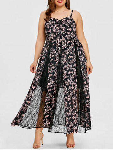 Buy Plus Size Lace Insert Floral Maxi Dress