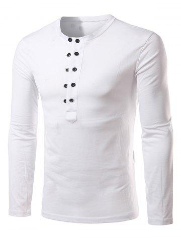 Outfit Half Buttons Long Sleeve T-shirt
