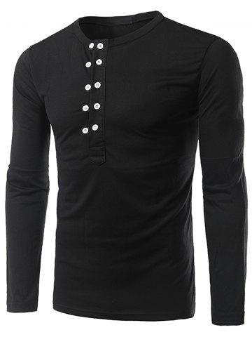Affordable Half Buttons Long Sleeve T-shirt