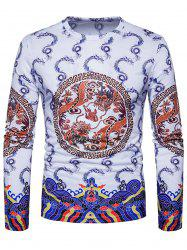 Geometric Dragons Print Chinese Style T-shirt -