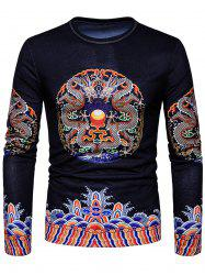 Dragon Print Vintage Chinese Style T-shirt -