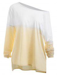 Plus Size High Low Pocket Ombre T-shirt -