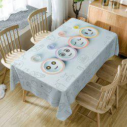 Cartoon Emoticon Print Fabric Dining Table Cloth -