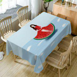 Watermelon Girl Print Fabric Waterproof Table Cloth -