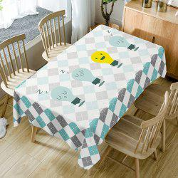 Cartoon Lamp Plaid Print Fabric Waterproof Table Cloth -