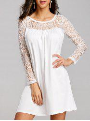 Lace Panel Long Sleeve Mini Shift Dress -