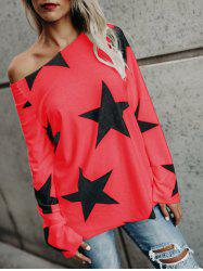 Star Print Skew Neck Long Sleeve Top -