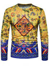 Dragon Chinoiserie Print Long Sleeve T-shirt -