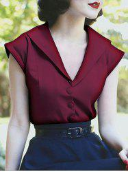 Satin Button Up Vintage Blouse -