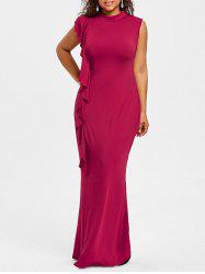 Plus Size High Neck Ruffle Maxi Dress -