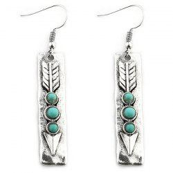 Arrow Shape with Stone Inlay Dangle Earrings -