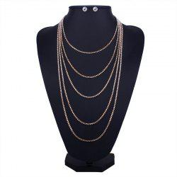 Layered Rhinestone Fringed Necklace and Earrings -