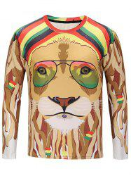 Crew Neck Glasses Lion Print Tee -