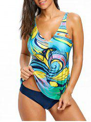 V Neck Skirted Tankini Set -