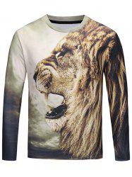 Crew Neck 3D Roar Lion T-shirt -