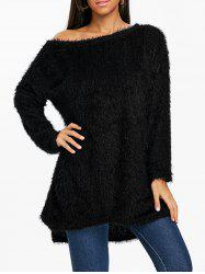 Skew Neck Fluffy Tunic Sweater -