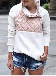Quilted Panel Fluffy Sweatshirt -