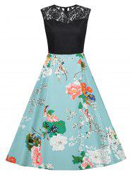Print Lace Trim Vintage Flare Dress -