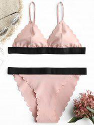 Thong Scalloped Trim Bikini Set -