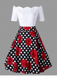 Polka Dot Roses Print Off Shoulder Vintage Dress -