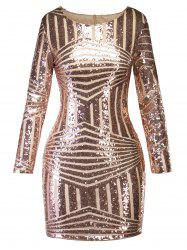 Sequin Cut Out Sparkly Mini Evening Dress -