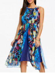 Bohemian Printed Chiffon Midi Dress -