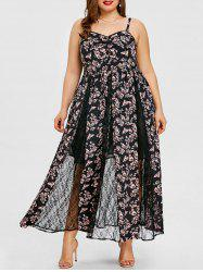 Plus Size Lace Insert Floral Maxi Dress -