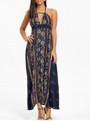 Ethnic Print Halter Backless Maxi Dress -