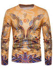 Chinese Style Dragons Print Crew Neck T-shirt -