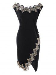 Flower Embroidered Trim Plus Size Bodycon Dress -