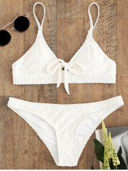 Cami Strap Velvet Striped Bikini Set -