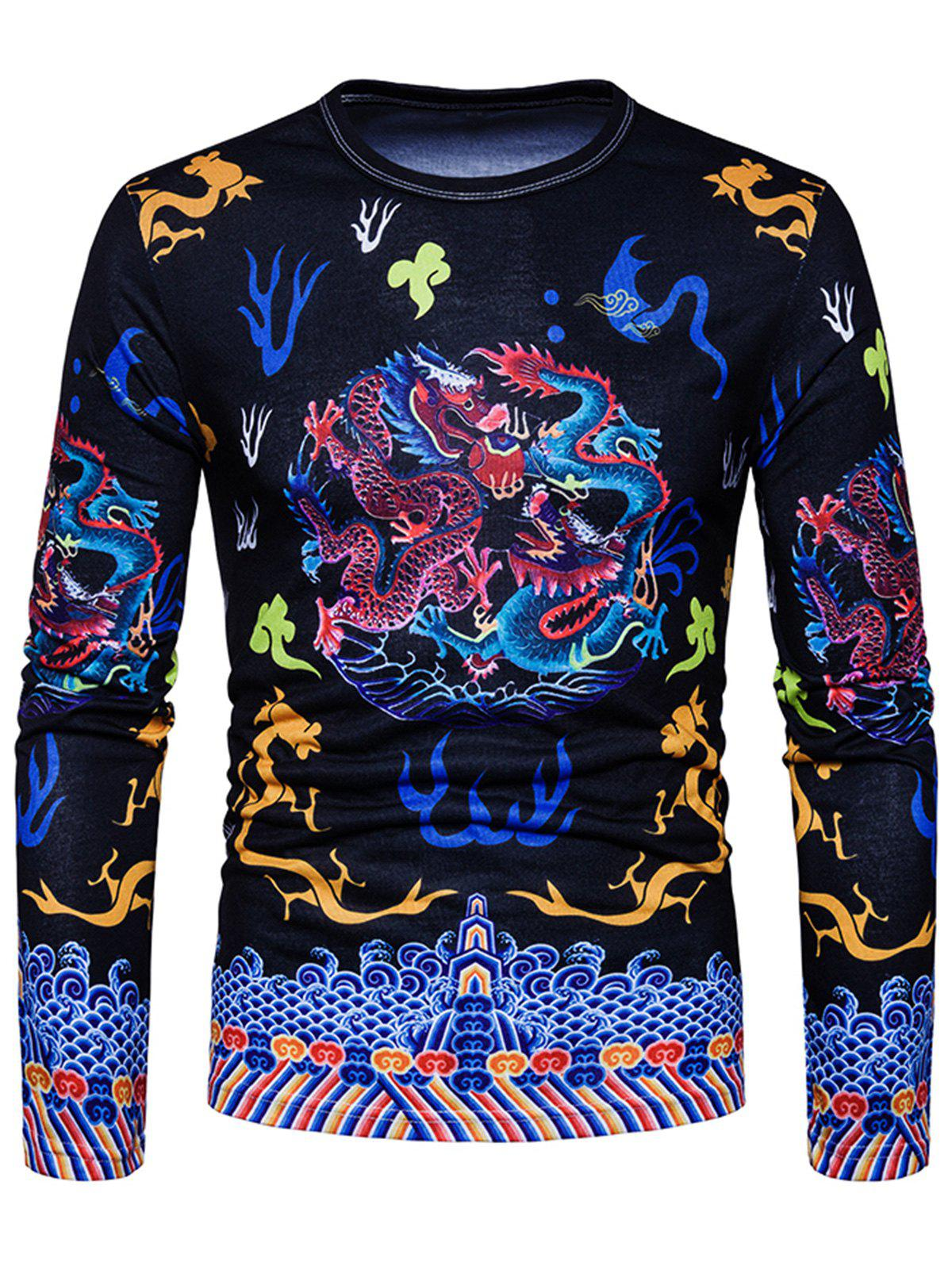 Affordable Vintage Chinese Style Dragons Print T-shirt