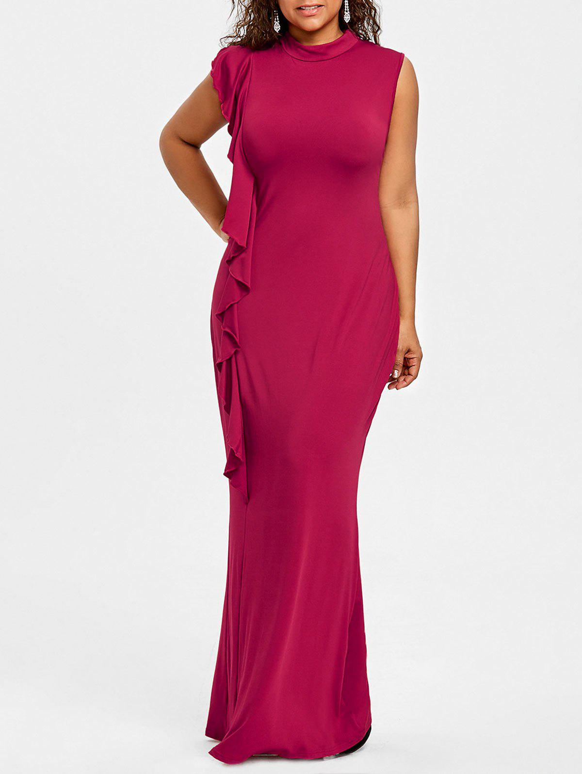 Outfits Plus Size High Neck Ruffle Maxi Dress