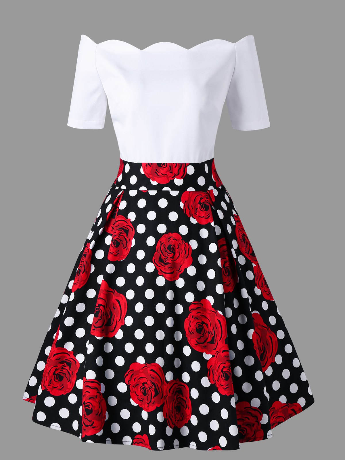 Outfit Polka Dot Roses Print Off Shoulder Vintage Dress