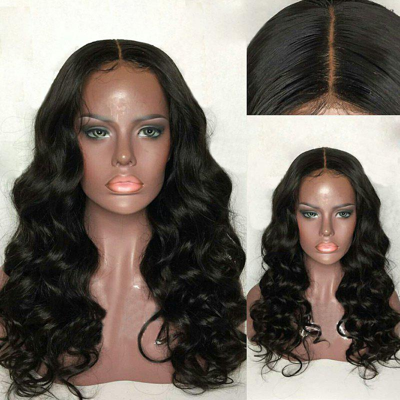 Trendy Long Center Parting Fluffy Loose Wave Lace Front Human Hair Wig