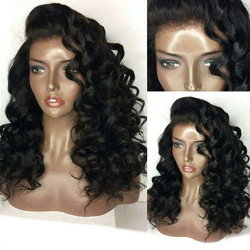 Hot Deep Side Parting Fluffy Long Loose Curly Lace Front Human Hair Wig