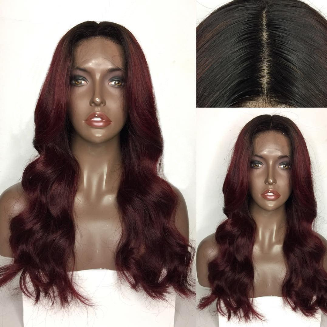 Store Long Center Parting Body Wave Colormix Lace Front Human Hair Wig
