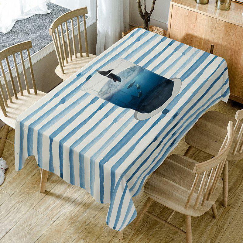 New Cup Striped Print Fabric Dining Table Cloth