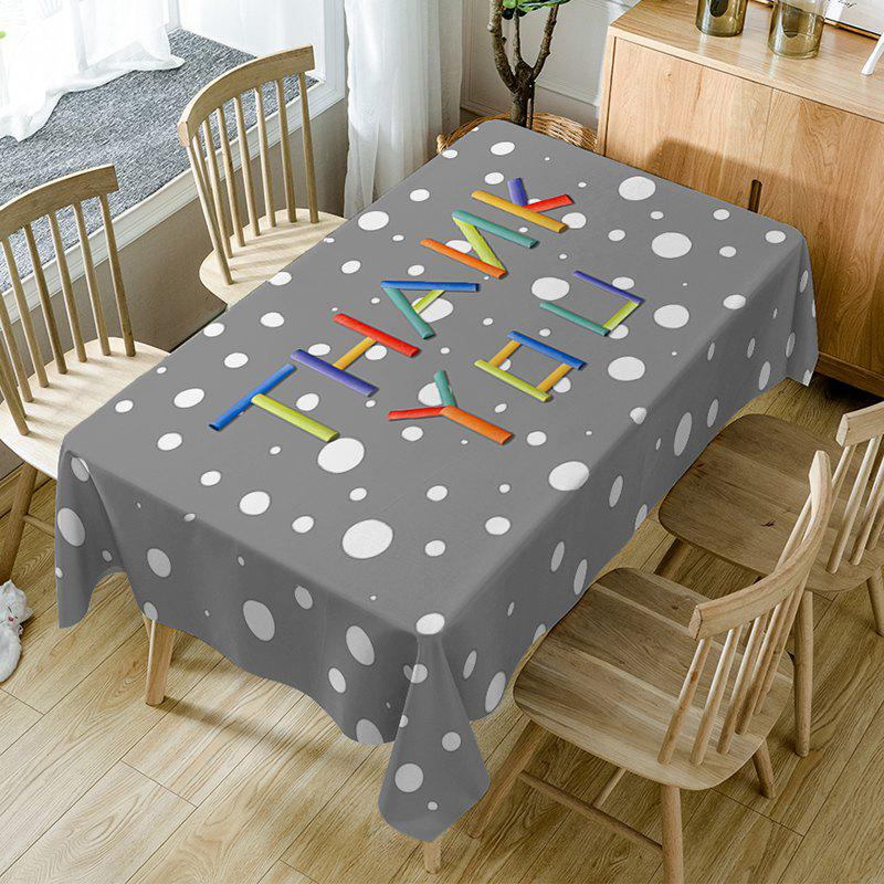 Trendy Thank You Print Fabric Waterproof Table Cloth