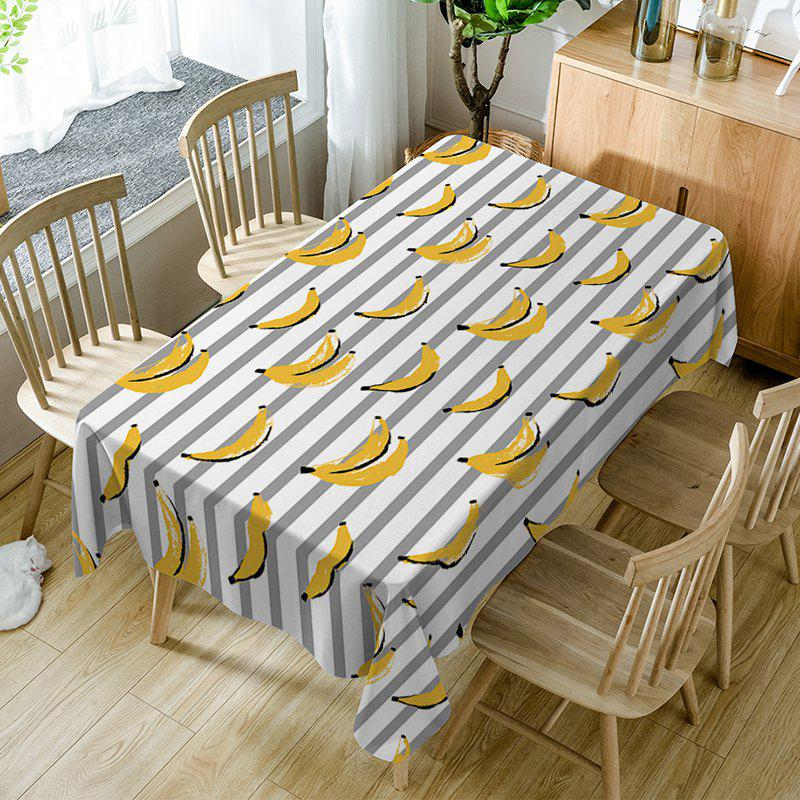 Trendy Bananas Striped Print Fabric Waterproof Table Cloth