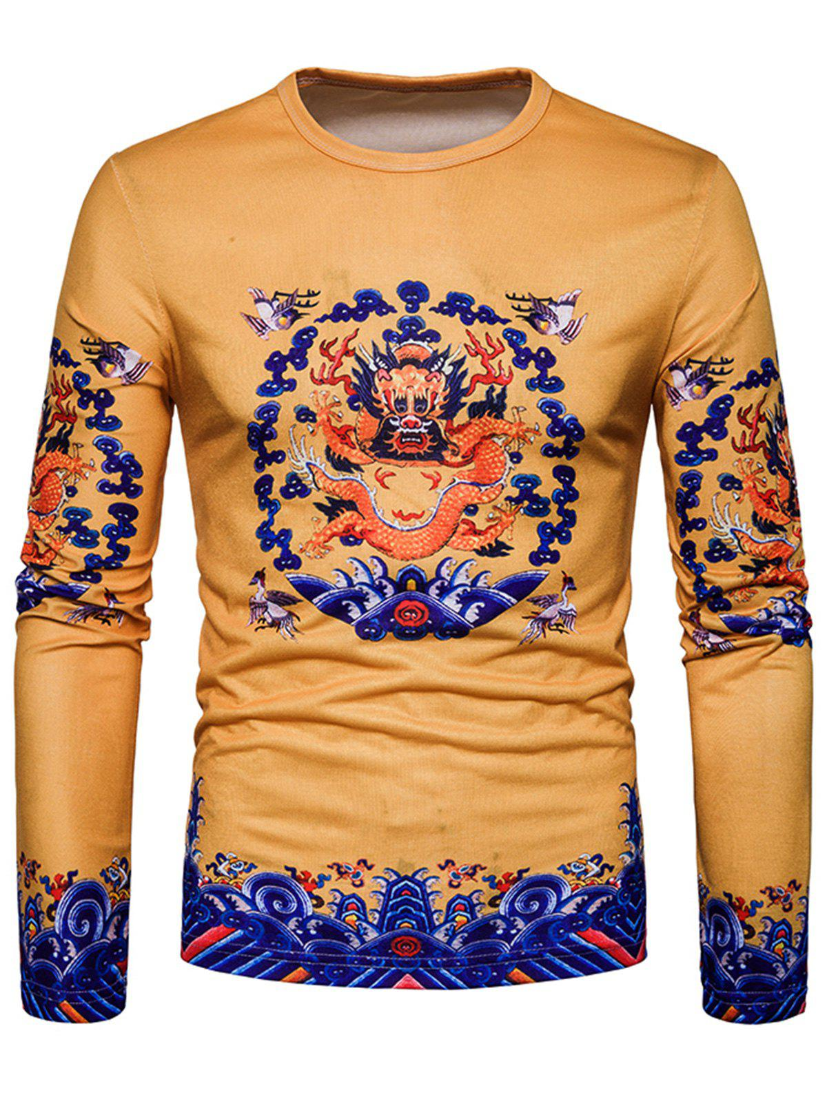 Latest Long Sleeve Dragon Print T-shirt