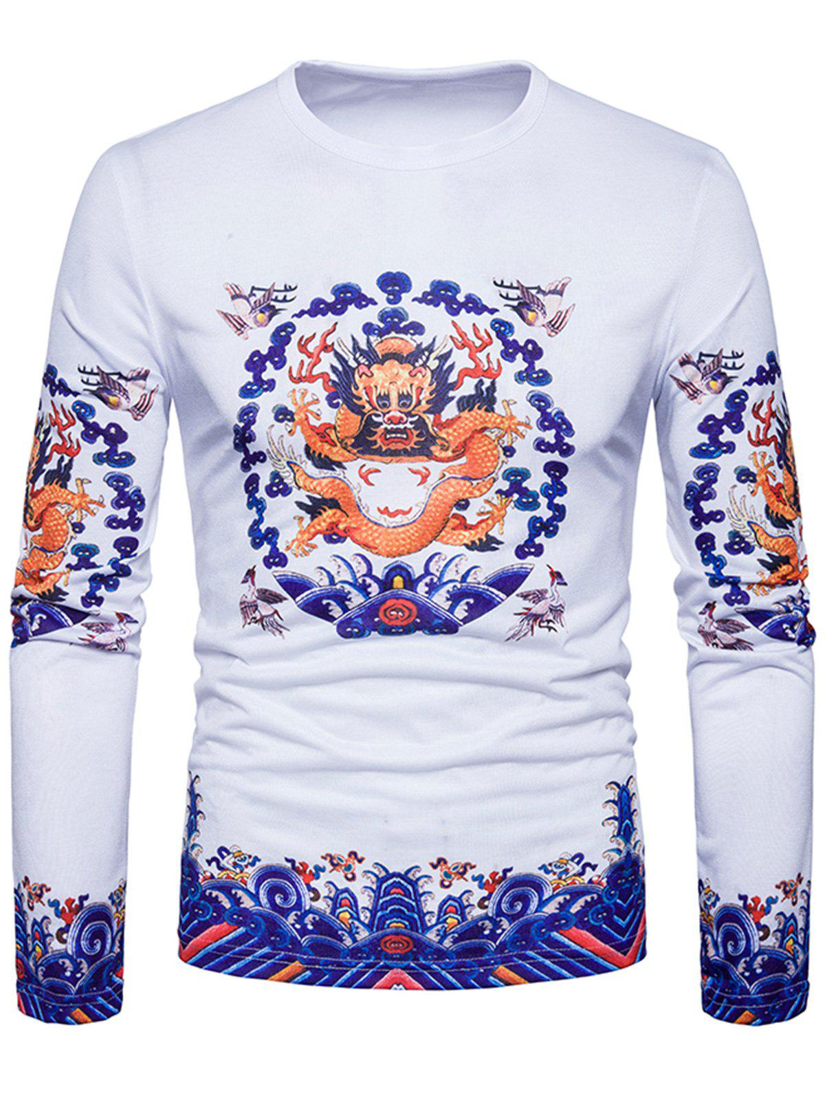 Fancy Long Sleeve Dragon Print T-shirt